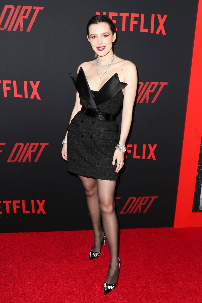 Bella Thorne'The Dirt' Film Premiere, Arrivals, Pacific Cinerama Dome, Los Angeles, USA - 18 Mar 2019 Wearing The 2nd Skin Co Same Outfit as catwalk model *9335630e