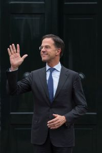 Dutch Prime Minister Mark Rutte waves as he waits for European Council President Donald Tusk to arrive for a meeting at Catshuis residence in The Hague, NetherlandsEU Brexit, The Hague, Netherlands - 15 Mar 2019