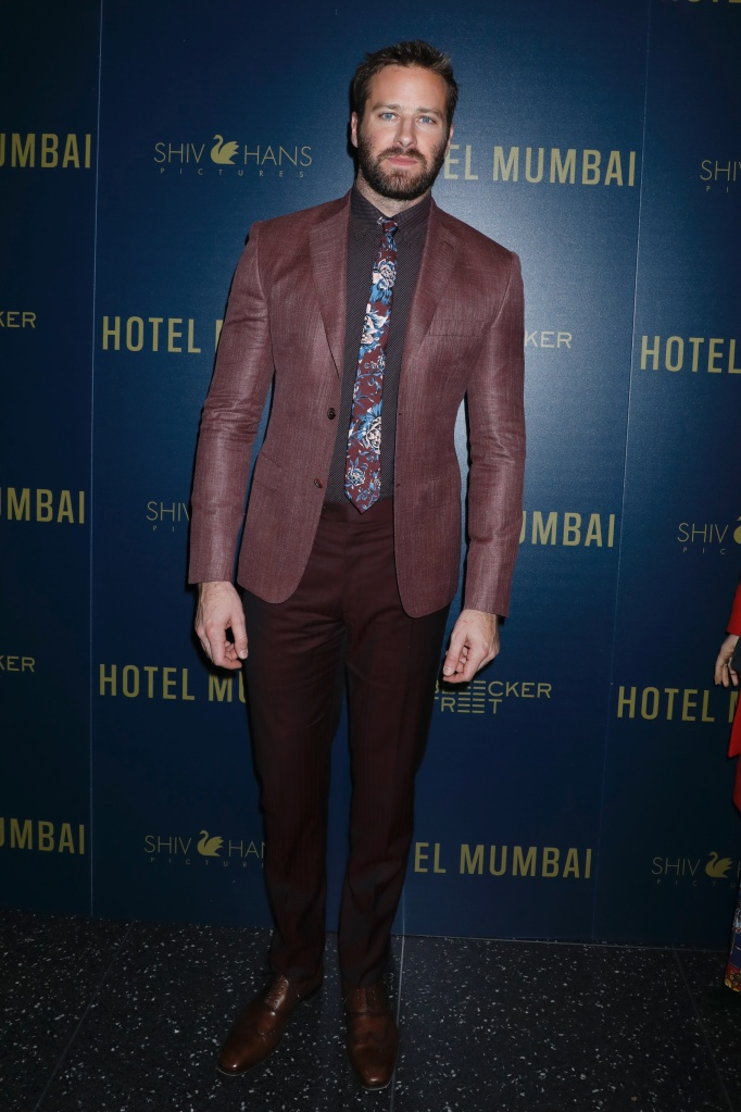 Armie HammerBleecker Street and ShivHans Pictures host a special screening of 'Hotel Mumbai', Arrivals, New York, USA - 17 Mar 2019