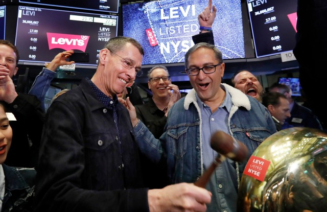 Harmit Singh, Chip Bergh. Levi Strauss CEO Chip Bergh, left, is joined by CFO Harmit Singh as he rings a ceremonial bell when his company's IPO begins trading on the floor of the New York Stock Exchange, . Levi Strauss & Co., which gave America its first pair of blue jeans, is going public for the second time. The 166-year-old company, which owns the Dockers and Denizen brands, previously went public in 1971, but the namesake founder's descendants took it private again in 1985Financial Markets Wall Street Levi Strauss IPO, New York, USA - 21 Mar 2019