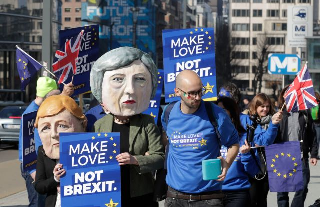 Anti-Brexit demonstrators calling for a second referendum on Brexit protest in front of EU Commission Building ahead of EU Summit in Brussels, Belgium, 21 March 2019. European Union leaders will gather for a two-day summit to discuss, among others, Brexit and British PM request to extend Article 50.EU Summit protest, Belgium - 21 Mar 2019
