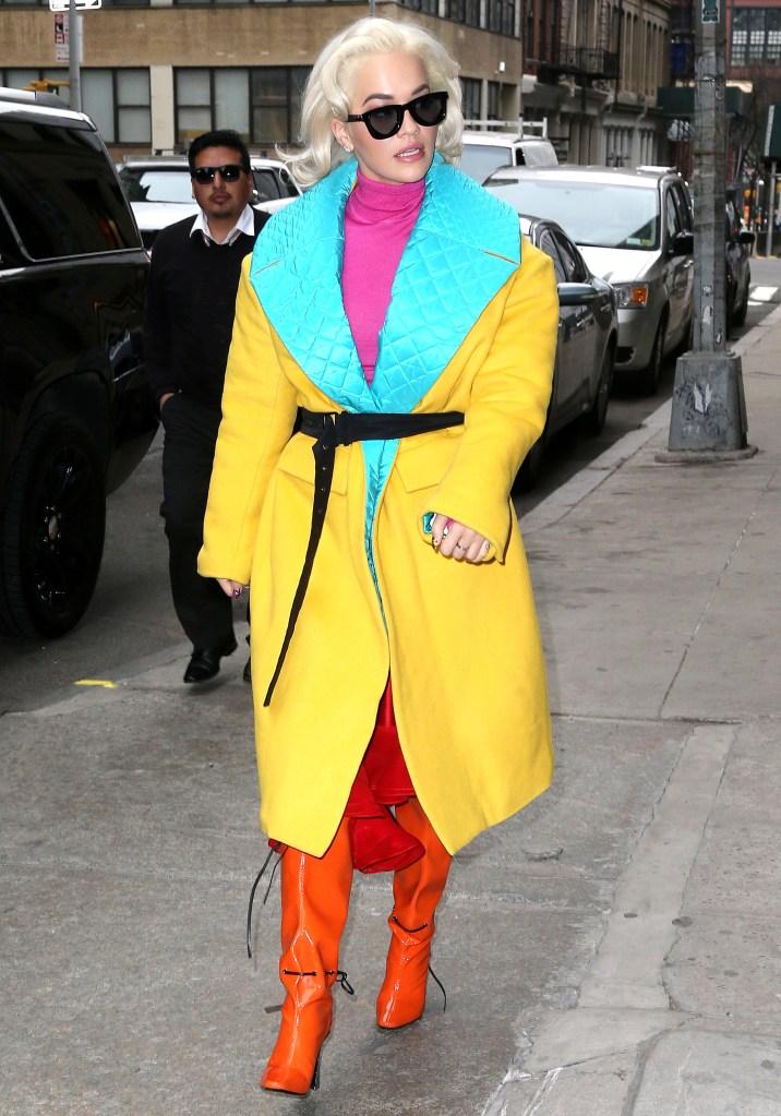 Rita OraRita Ora out and about, New York, USA - 25 Mar 2019Wearing Prabal Gurung Same Outfit as catwalk model *10100975n