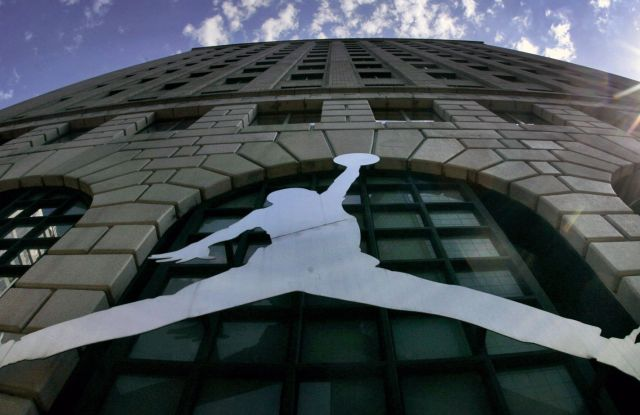 "A Michael Jordan logo reflects off of Niketown in Portland, Ore. A photographer has accused Nike of violating the copyright of his 1984 image of a soaring Michael Jordan, which he alleges the company later misused to create the profitable ""Jumpman Logo."" The lawsuit, filed in federal court in Portland,, seeks unspecified monetary damages based on profits attributable to the infringement on the copyrightNike Lawsuit-Jordan Copyright, Portland, USA"