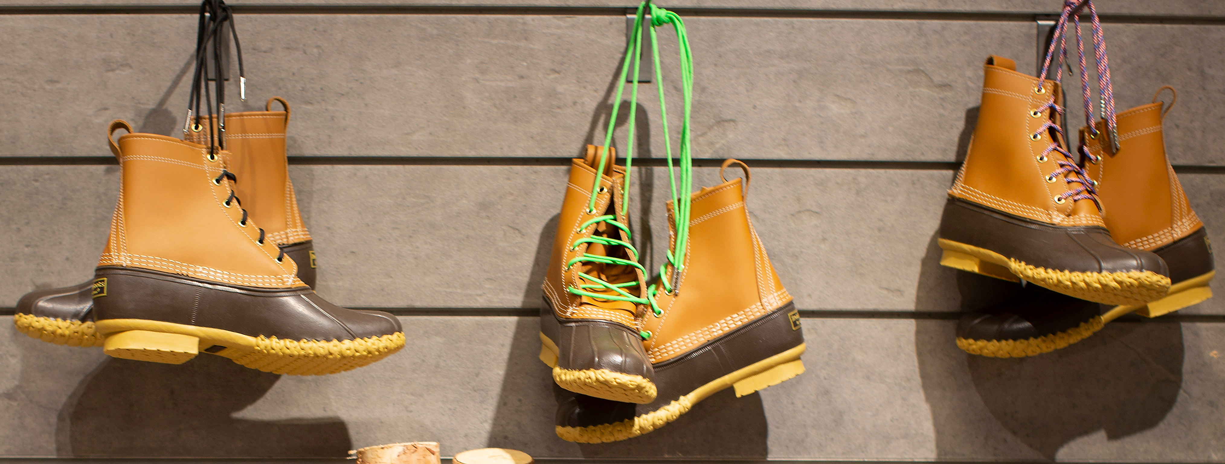 Signature 'Bean Boots' on display at the newly opened L.L. Bean location in the Seaport district of Boston, Massachusetts, USA 04 April 2018. Despite having to lay off approximately 100 employees due to slow sales earlier this year, this is the first urban located storefront for the 106 year old company. L.L. Bean officially opens the location on 06 April 2018 but had a soft opening this past week.L.L. Bean in Boston, USA - 04 Apr 2018