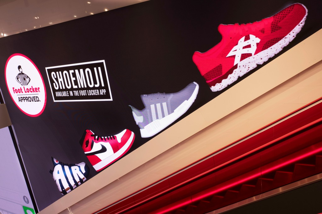 Retail, consumer spending, economy. A sneaker display is shown in a Foot Locker in New York, . The footwear and sportswear retailer operates in 28 countriesEarns Foot Locker, New York, USA - 22 Aug 2017