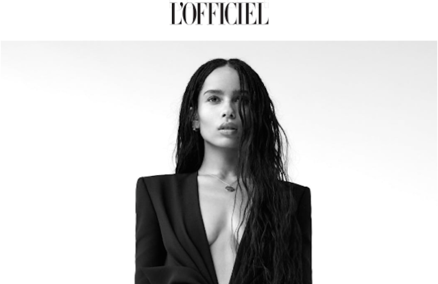 Zoe Kravitz recently featured in multiple editions of L'Officiel magazines.