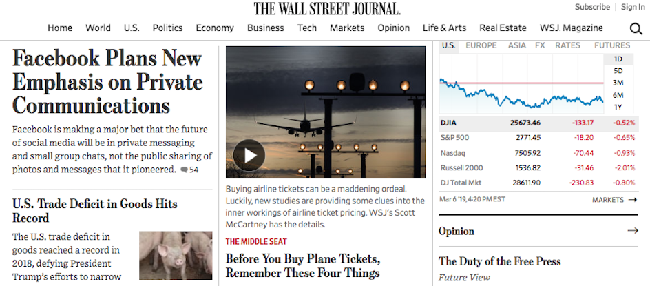 The Wall Street Journal's homepage.