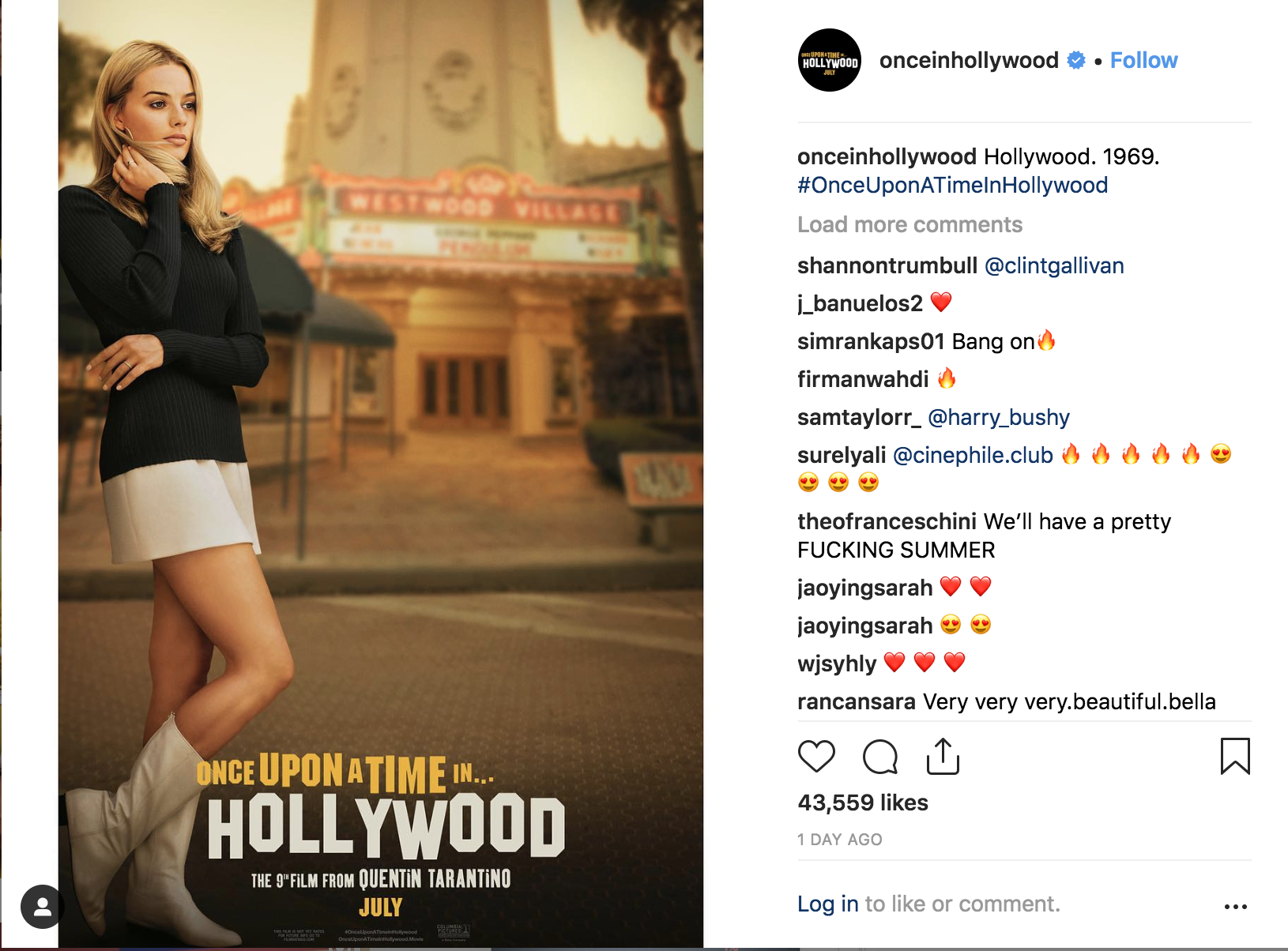 "Margot Robbie as Sharon Tate in ""Once Upon a Time in Hollywood."""