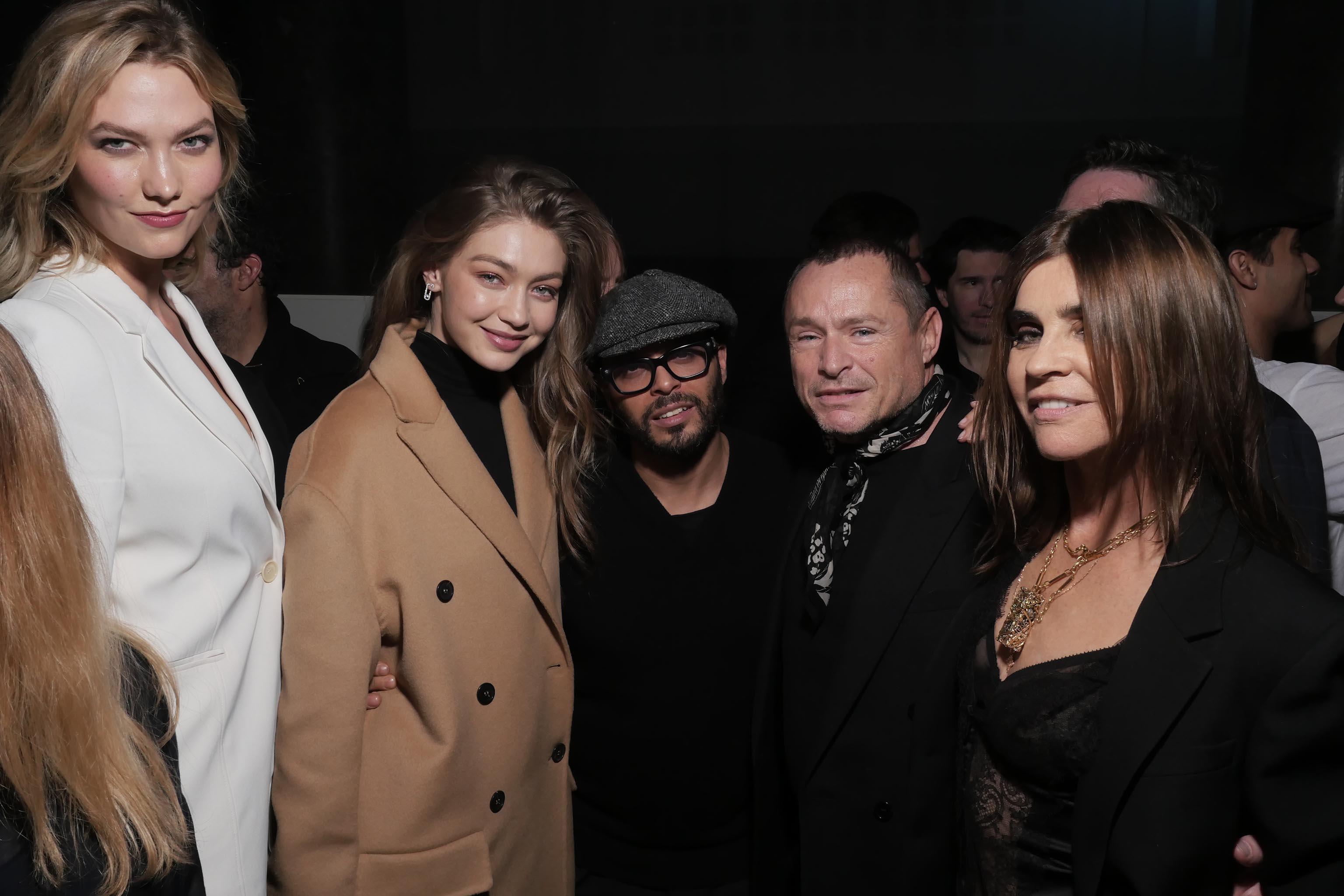 Karlie Kloss, Gigi Hadid, Tom Pecheux, and Carine Roitfeld