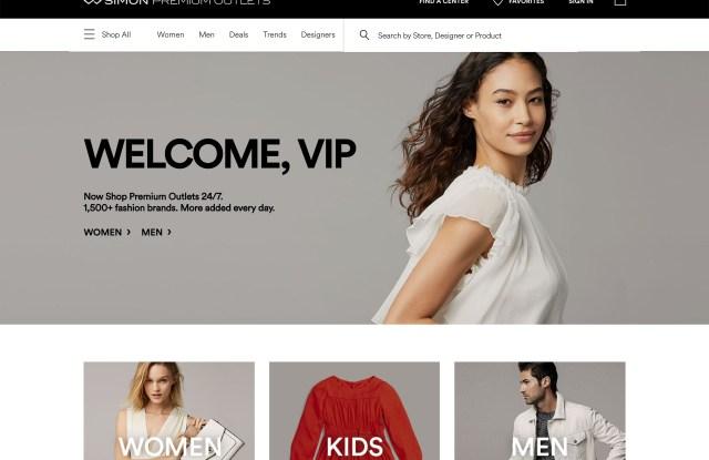 The Simon Premium Outlets website.