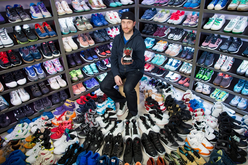 Josh Luber, Founder of StockX, with his sneaker collection.