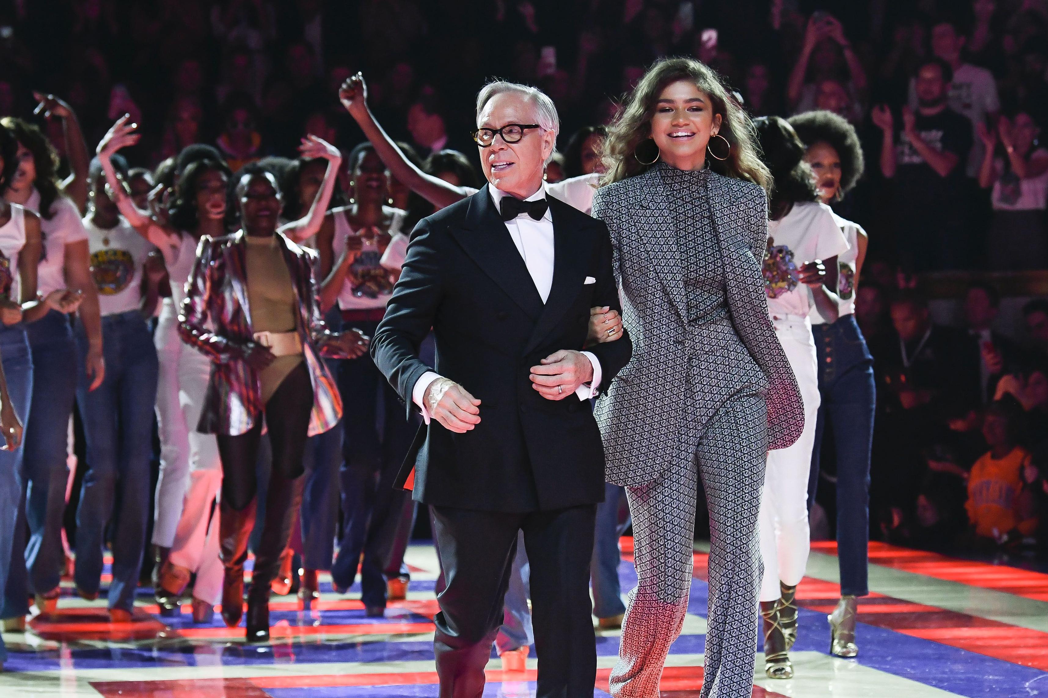 Zendaya, Tommy Hilfiger and models on the catwalk