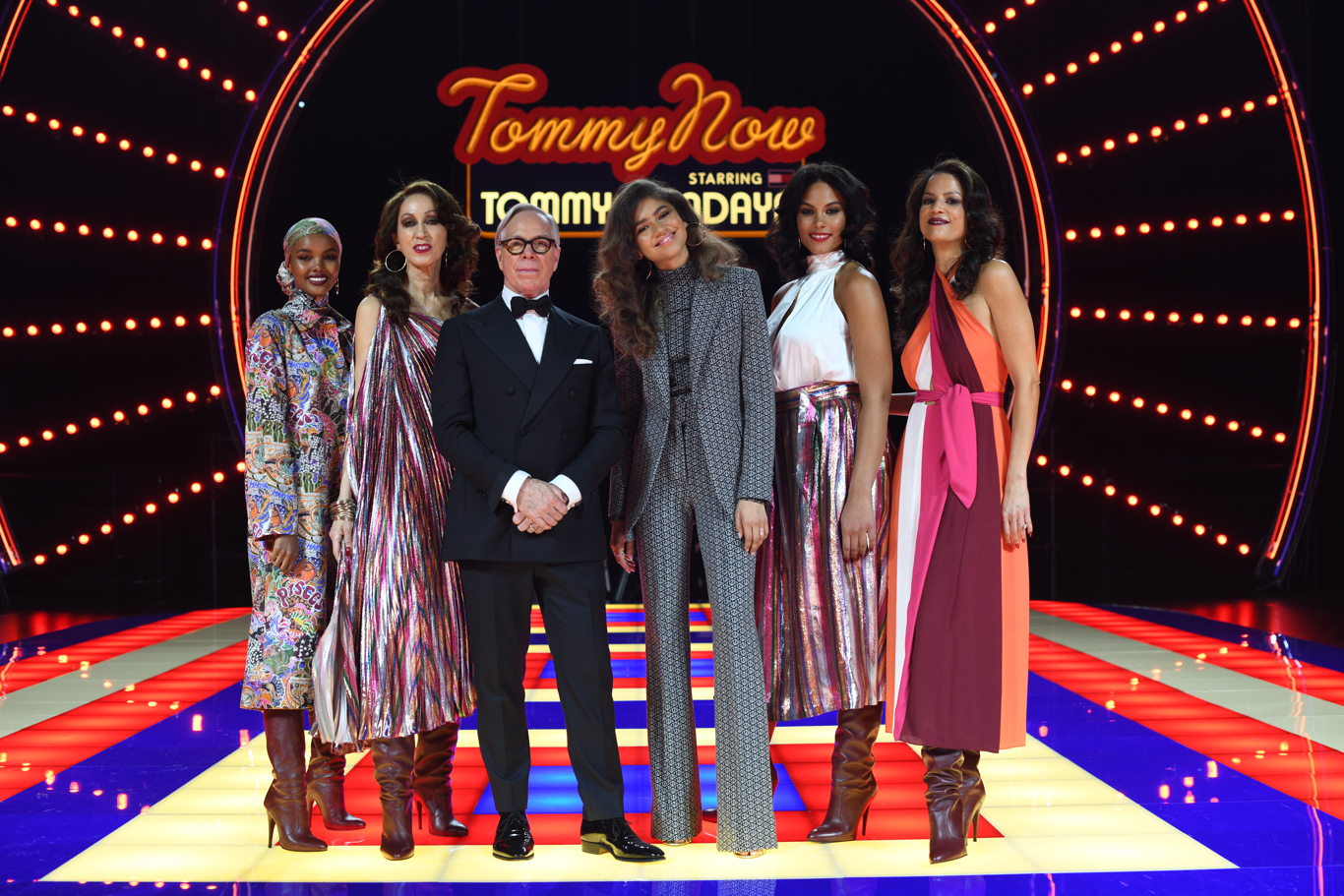 Halima Aden, Pat Cleveland, Tommy Hilfiger, Zendaya Coleman, Marquita Pring and Veronica Webb