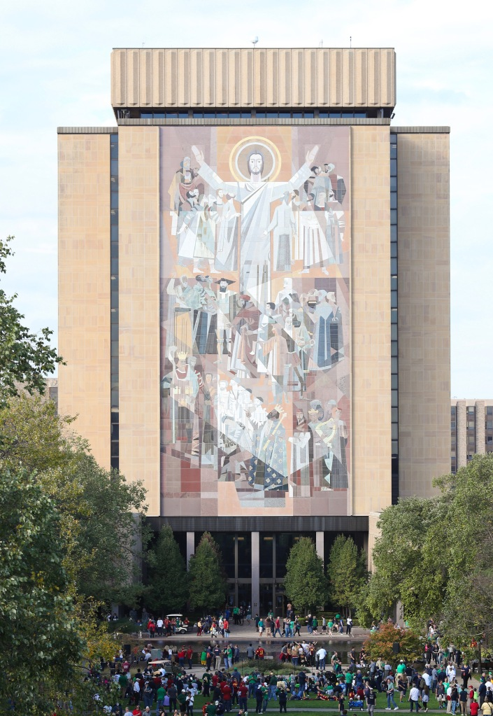 Touchdown Jesus, at Notre Dame, which this week became the focus of a leggings controversy.