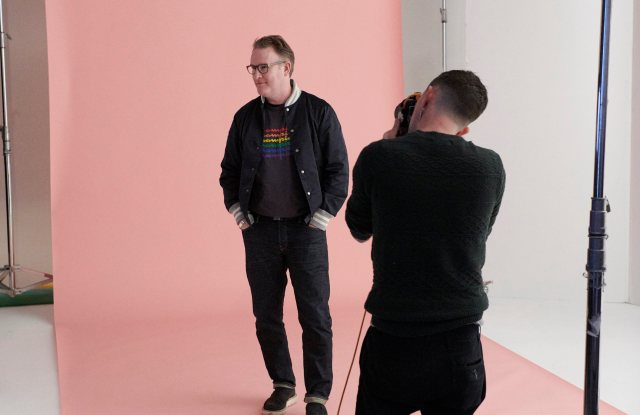 Todd Snyder on the set of the shoot wearing a Pride T-shirt he designed.