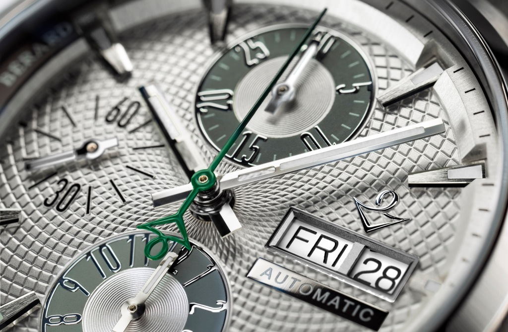 The dial of each Vincent Bérard eco-friendly timepiece features a green hand.