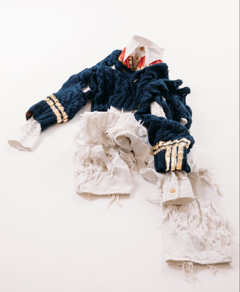 """A look from the Vivienne Westwood spring 1991collection featured in the """"Romanzo Breve di Moda Maschile"""" exhibition."""