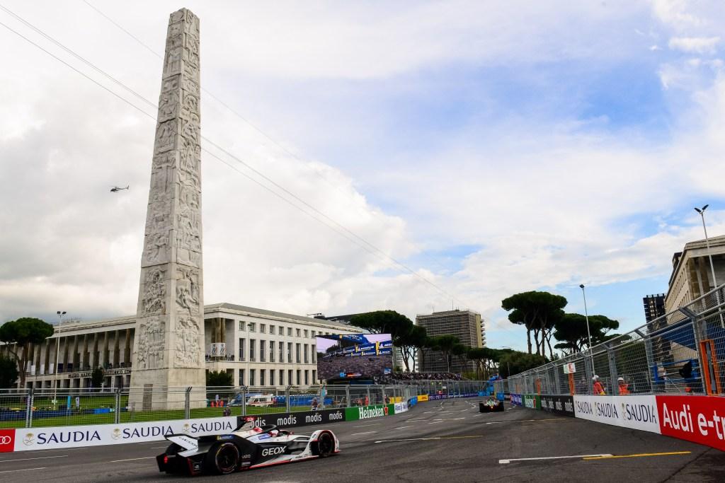 | Driver: Max Gunther| Team: Geox Dragon| Number: 6| Car: Penske EV-3|| Photographer: Lou Johnson| Event: Rome ePrix| Circuit: Circuito Cittadino Dell'EUR| Location: Rome| Series: FIA Formula E| Season: 2018-2019| Country: Italy| | Session: Race|