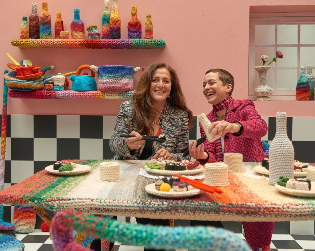 "Angela Missoni and Alessandra Roveda inside the ""Home Sweet Home"" installation."