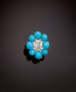 A turquoise and diamond ring by Sabba