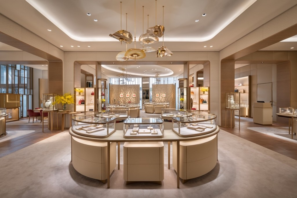 The interior of the Cartier store at Hudson Yards in New York City.