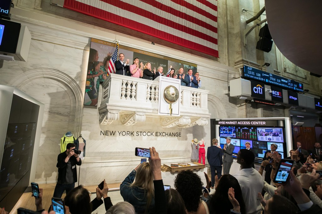 """The New York Stock Exchange welcomes American Eagle Outfitters, Inc. (NYSE: AEO) in celebration of the 25th anniversary of the company's IPO. Additionally, the American Apparel and Footwear Association as """"Retailer of the Year"""" on April 15. Jay L. Schottenstein, Executive Chairman of the Board and CEO, joined by Stacey Cunningham, NYSE President, rings the NYSE Opening Bell®."""