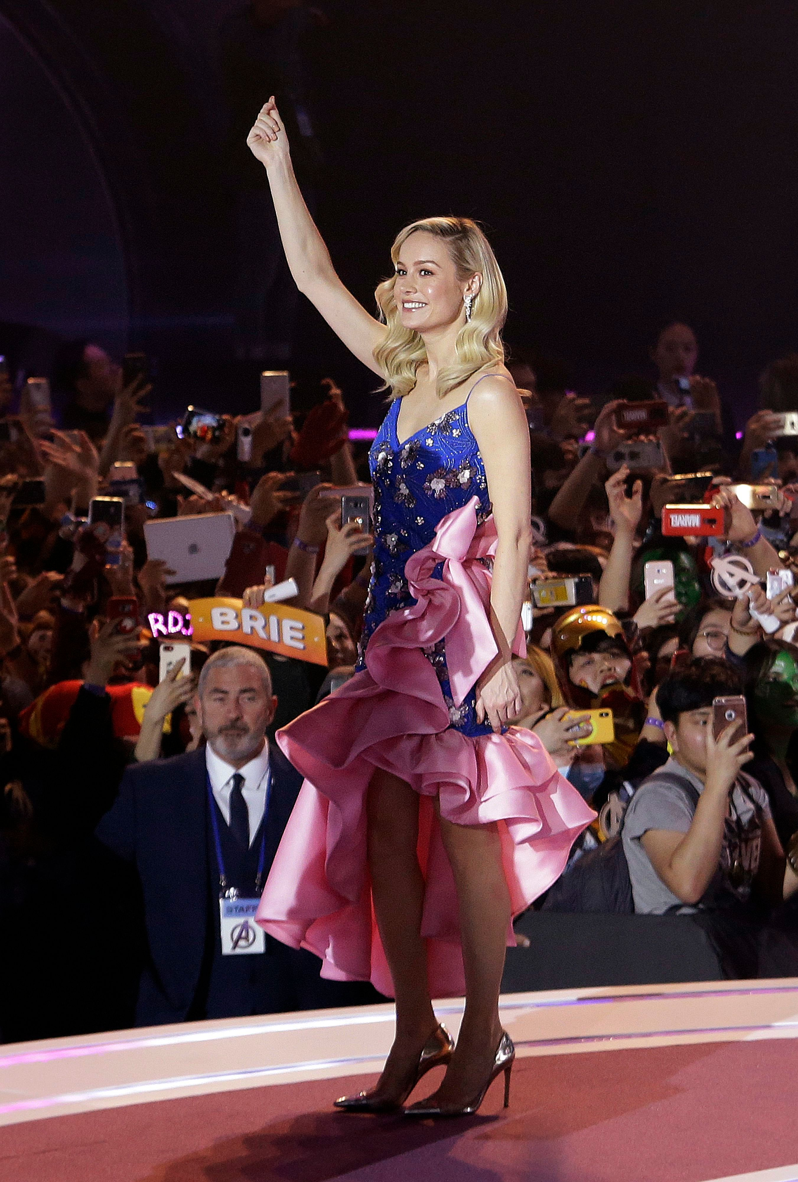 """Actress Brie Larson waves during an event to promote her latest film """"Avengers Endgame"""" in Seoul, South Korea, . The movie will open on April 24 in South KoreaAvengers, Seoul, South Korea - 15 Apr 2019Wearing Rodarte Same Outfit as catwalk model *10083131f"""