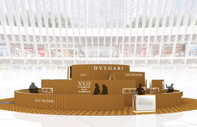 A rendering of Bulgari's new pop-up in New York.