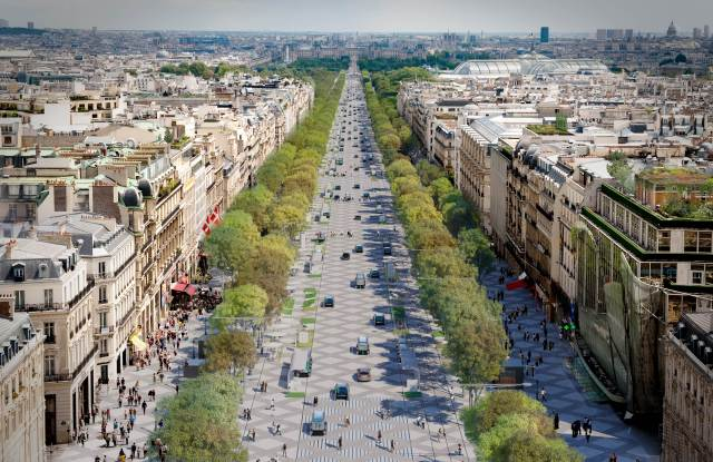 Rendering of the Champs Elysees view from the Arc de Triomphe