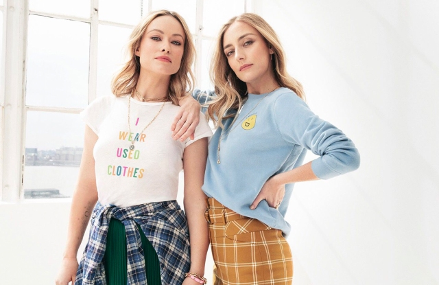 Olivia Wilde and Babs Burchfield, cofounders of Conscious Commerce, wearing items from their ThredUp collaboration.