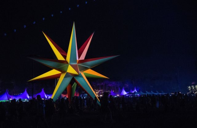 Supernova, an explosion of light and color art, seen at the Coachella Music & Arts Festival at the Empire Polo Club, in Indio, Calif2018 Coachella Music And Arts Festival - Weekend 1 - Day 2, Indio, USA - 14 Apr 2018