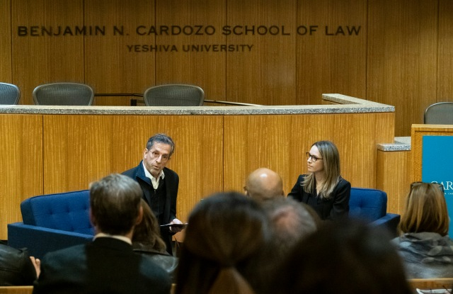 Kenneth Cole and his daughter Emily Cole on Wednesday at the event hosted by the Cardozo FAME Center and the Cardozo Fashion Law Society.