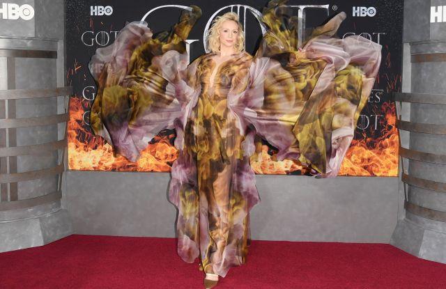Gwendoline Christie'Game of Thrones' season eight premiere, Arrivals, New York, USA - 03 Apr 2019 Wearing Iris Van Herpen same outfit as catwalk model *10068358n