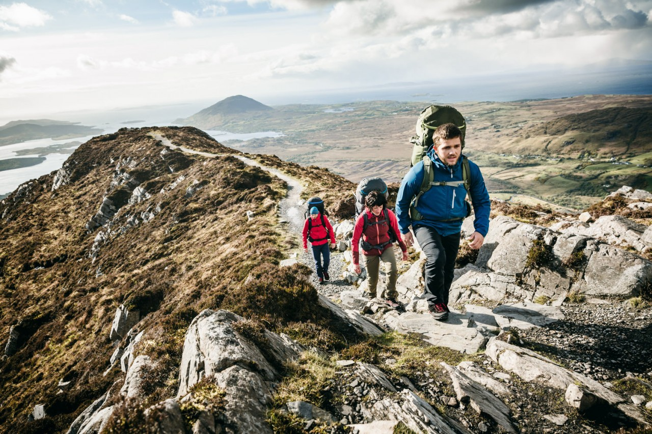Trekking in Ireland with products from German brand Vaude, an outdoor specialist well known for transparent supply chains.