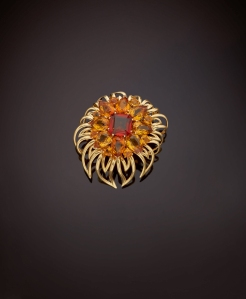 A gold and citrine clip brooch by Cartier circa 1940