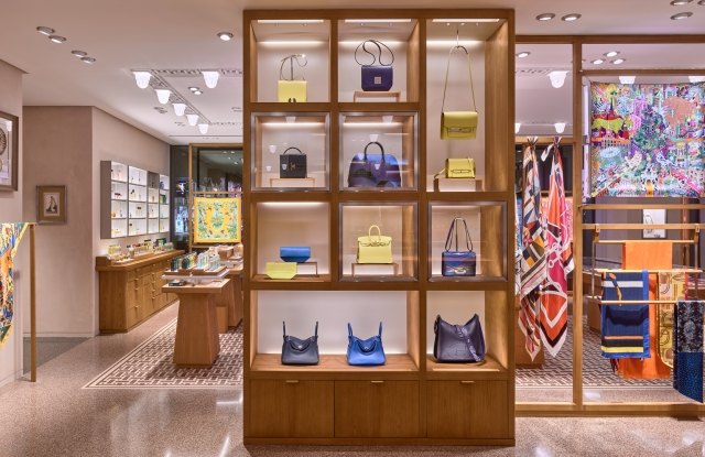 Hermès leather goods in store