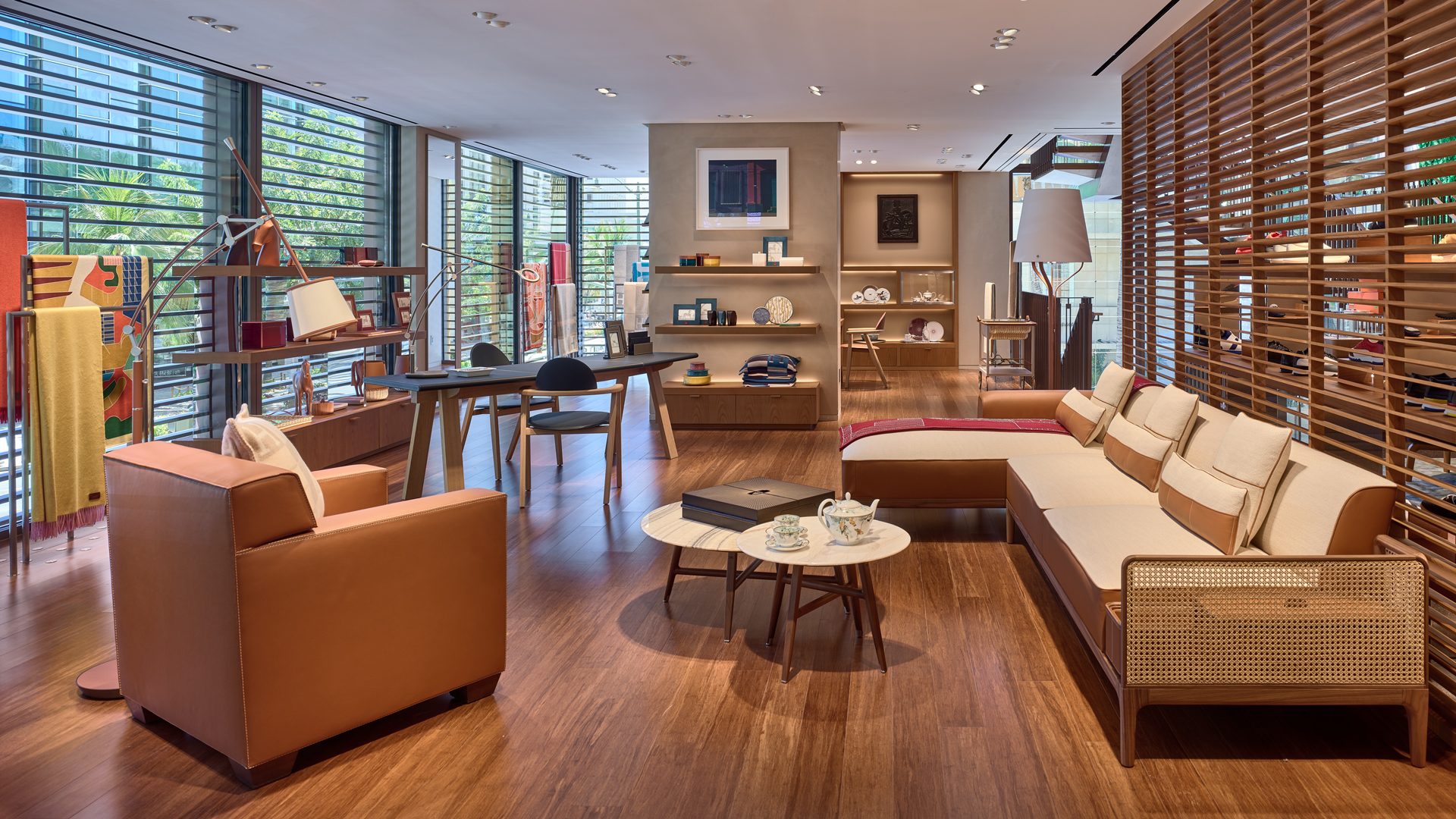 Hermès' newly expanded store at the Royal Hawaiian Center in Waikiki was designed to bring the outdoors into the store.