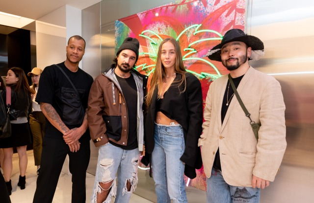 From left to right: Heron Preston, Francesco Ragazzi, Sabrina Albarello, and Poggy at the Palm Angels store opening on Mar. 27, 2019.
