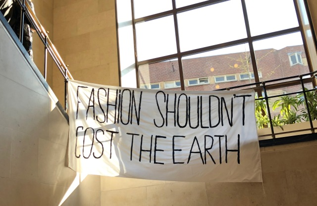 A banner put up by a student at the Amsterdam Fashion Institute