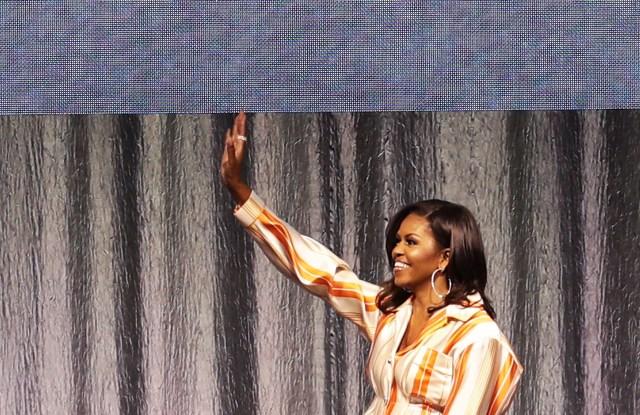 Michelle Obama speaking in Paris