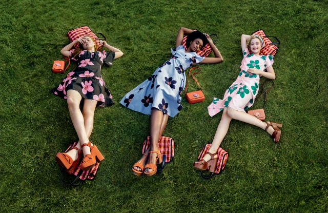 "In her second collection for Kate Spade New York, launching in May, creative director Nicola Glass focuses on optimistic femininity. The summer campaign once again features actresses Julia Garner (Netflix's ""Ozark"" and Bravo's ""Dirty John"") Sadie Sink (Netflix's ""Stranger Things"" and ""Eli"") and KiKi Layne (""If Beale Street Could Talk"" and ""Native Son.""). The campaign, styled by Sara Moonves, was photographed by Tim Walker, who previously worked with the brand from 1999 to 2006 under Kate and Andy Spade. He will shoot the brand's campaigns throughout 2019. ""I love the idea of women getting together and creating everyday informal celebrations, no matter where they are,"" said Glass. ""To me, the nature of improvising these moments is very free-spirited and optimistic. As a brand, we encourage women to be the heroines of their own stories. We are a celebration of women across time zones, generations and style creeds who are living their best individual lives and believe that, together, everything is possible."" The ads, which will start appearing digitally in May, were shot on location at the Floating Farmhouse in Eldred, N.Y. — Lisa Lockwood"
