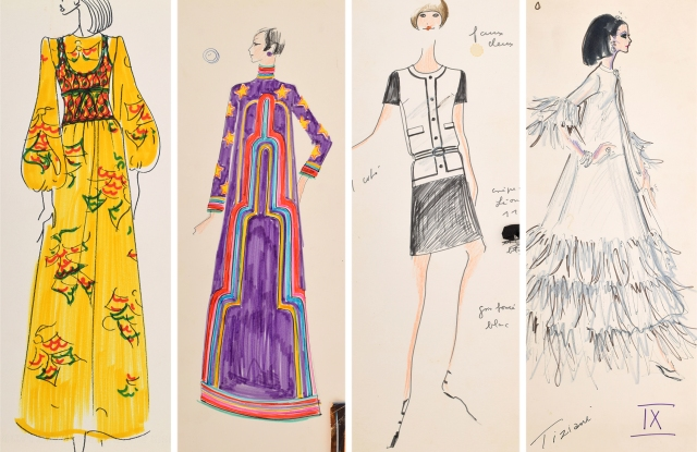 Four of the sketches by Karl Lagerfeld to be auctioned on April 18.
