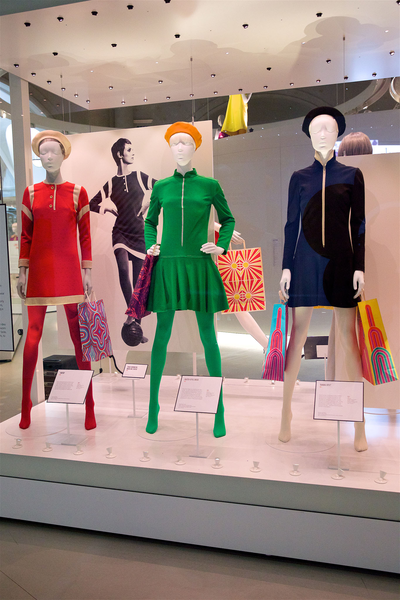 The Mary Quant exhibit at the Victoria and Albert Museum.
