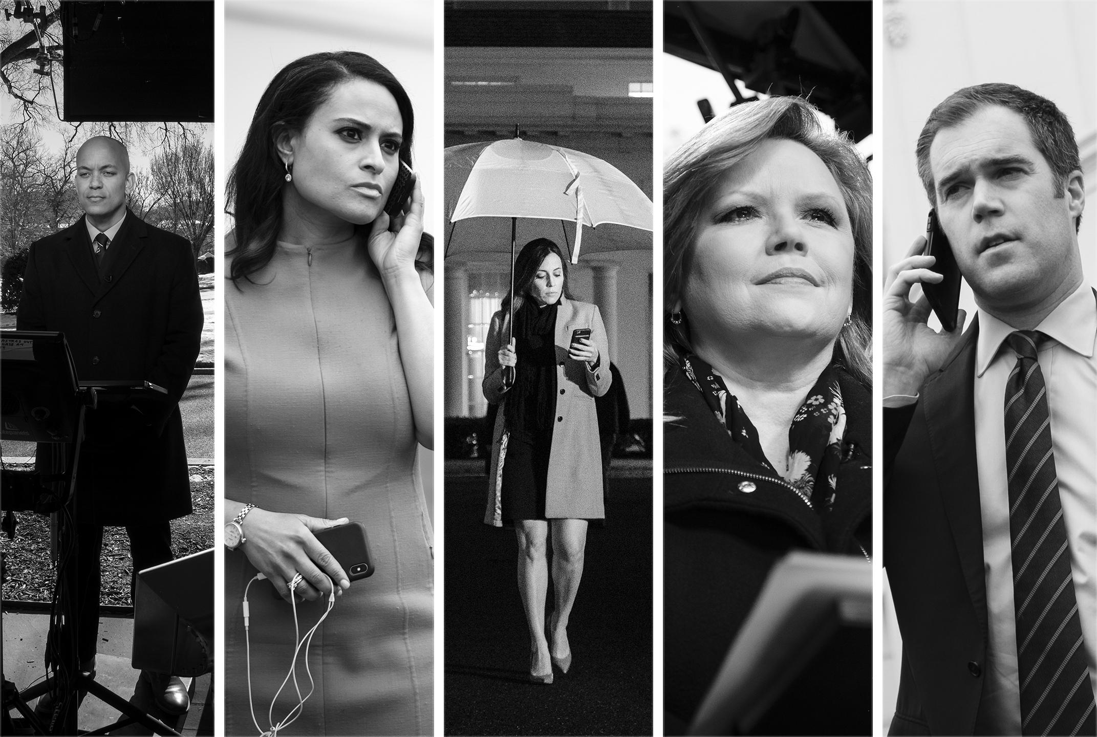 From left: NBC White House correspondents Geoff Bennett, Kristen Welker, Hallie Jackson, Kelly O'Donnell and Peter Alexander.