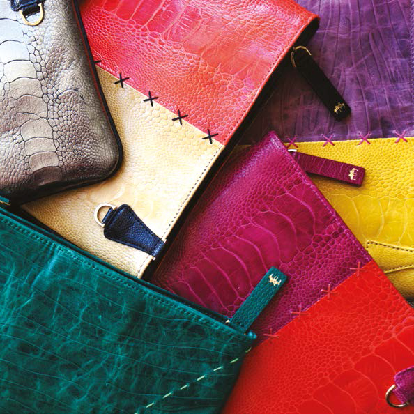 Okapi's signature ostrich leather clutch bag