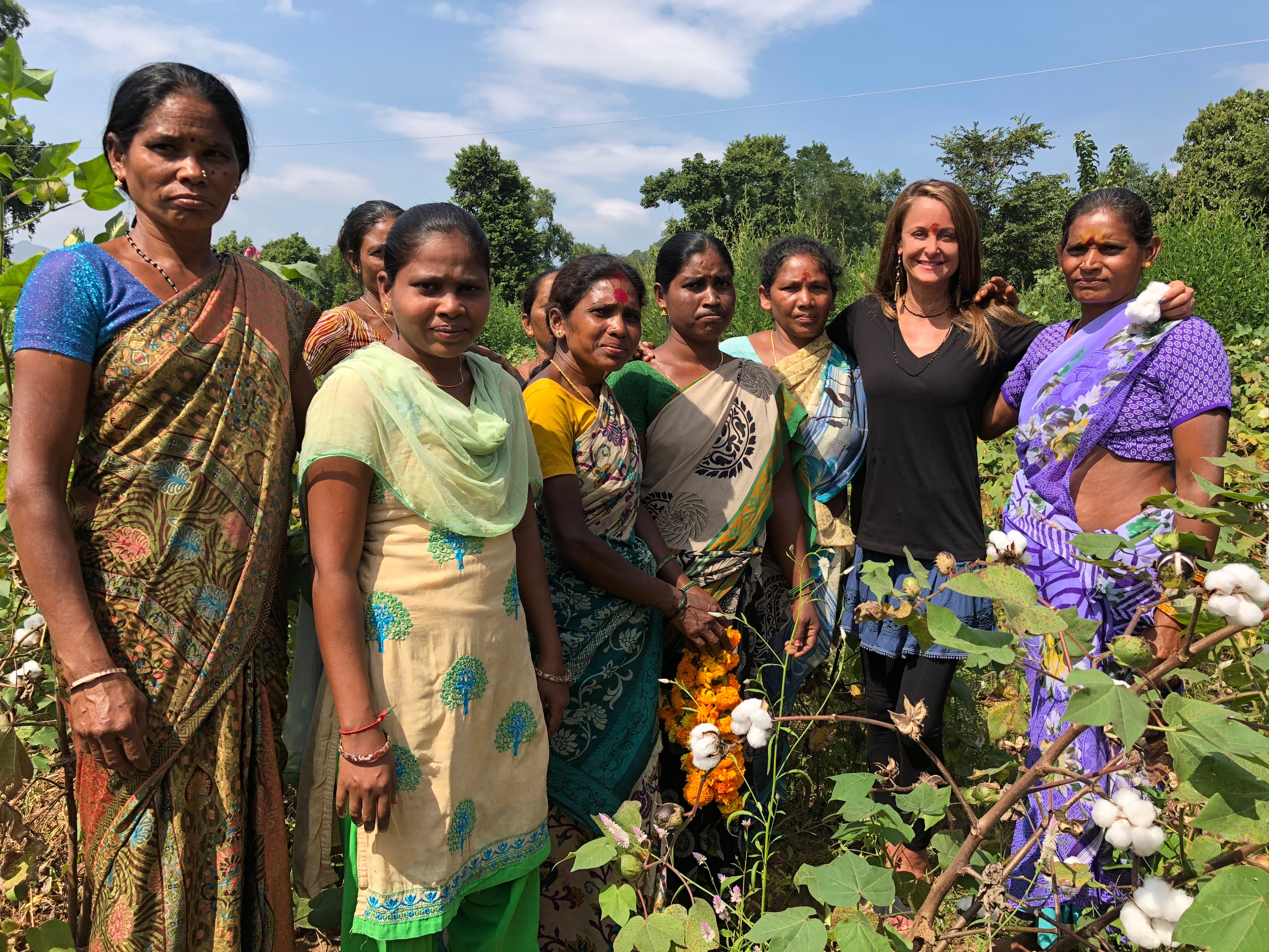 Marci Zaroff, second from right, with cotton farmers in Andhra Pradesh, India.