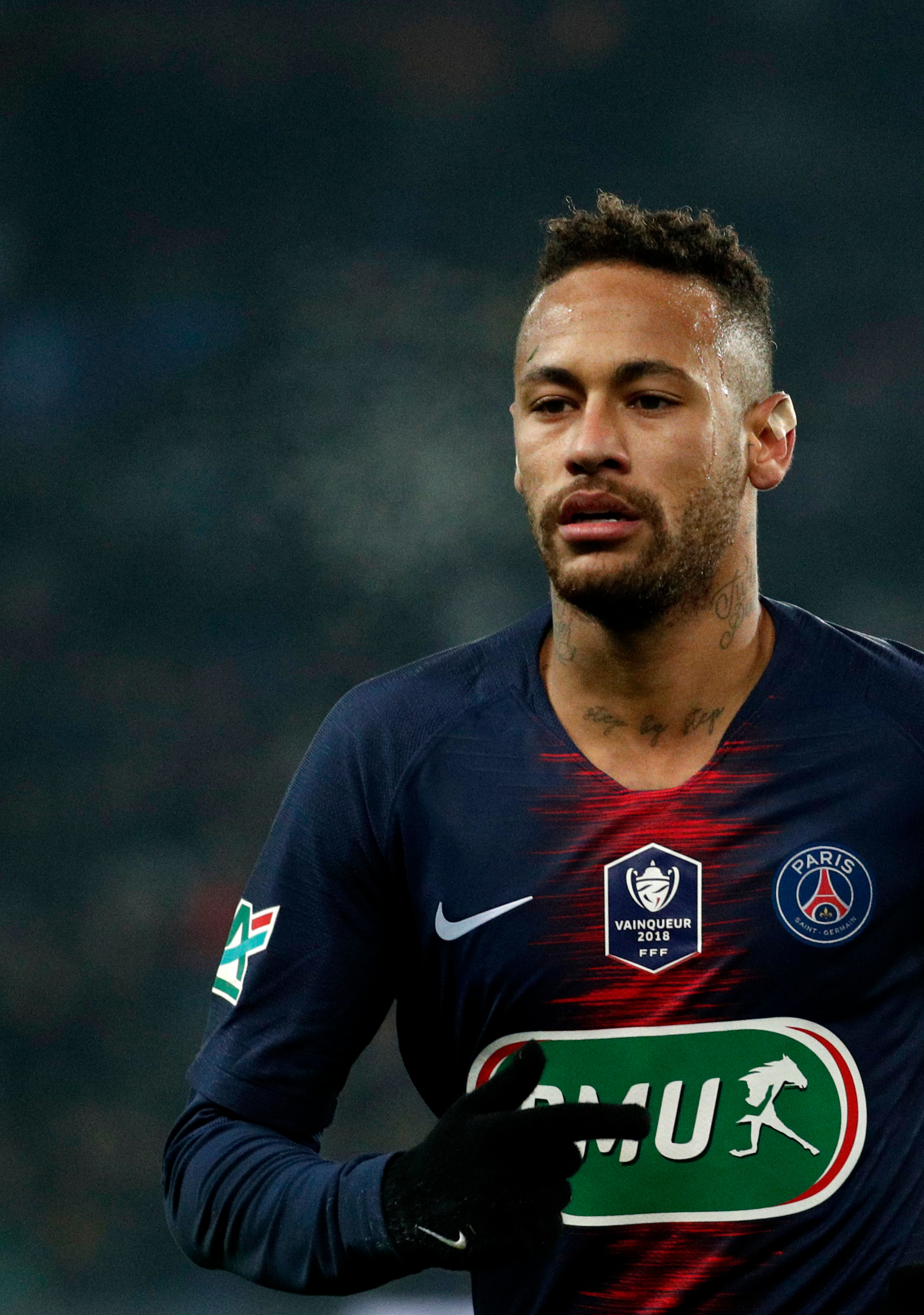 Neymar of Paris Saint Germain in action during the French Cup de France round of 32 soccer match between Paris Saint-Germain (PSG) and Strasbourg in Paris, France, 23 January 2019.Paris Saint Germain vs RC Strasbourg, France - 23 Jan 2019