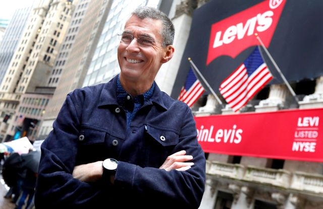 Levi Strauss CEO Chip Bergh poses for photos outside the New York Stock Exchange, . Levi Strauss & Co., which gave America its first pair of blue jeans, is going public for the second time. The 166-year-old company, which owns the Dockers and Denizen brands, previously went public in 1971, but the namesake founder's descendants took it private again in 1985Financial Markets Wall Street Levi Strauss IPO, New York, USA - 21 Mar 2019