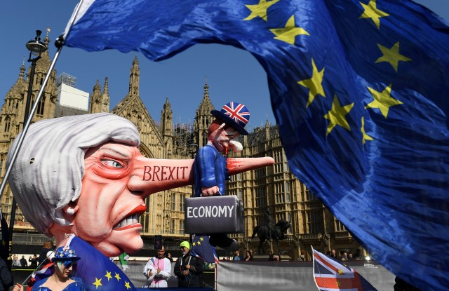 Anti-Brexit protesters outside the Houses of ParliamentPro and anti Brexit protests, London, UK - 01 Apr 2019