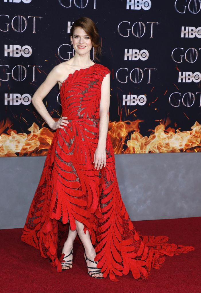 Rose Leslie'Game of Thrones' season eight premiere, Arrivals, New York, USA - 03 Apr 2019Wearing Oscar De La Renta same outfit as catwalk model *9878878ap